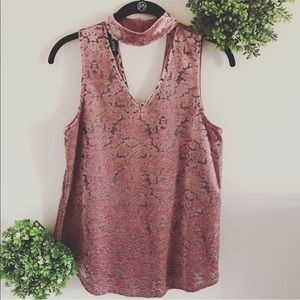 Pink crushed velvet sleeveless top size medium